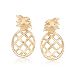 14kt Yellow Gold Diamond-Cut and Polished Pineapple Stud Earrings, , default