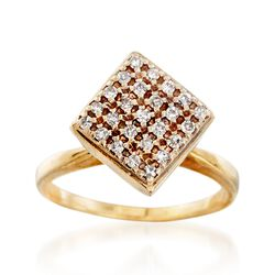 C. 1970 Vintage .30 ct. t.w. Diamond Square Top Ring in 14kt Yellow Gold. Size 5.75, , default