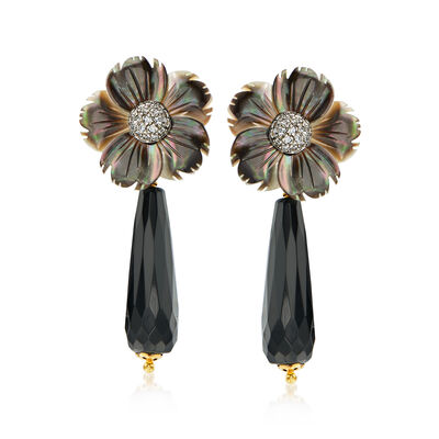 Italian Gray Mother-Of-Pearl, Black Onyx and .75 ct. t.w. CZ Flower Drop Earrings in 18kt Gold Over Sterling, , default