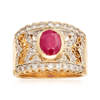 C. 1990 Vintage 1.70 Carat Ruby and .50 ct. t.w. Diamond Ring in 18kt Yellow Gold, , default