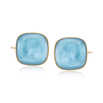 16mm Square Milky Aquamarine Earrings in 14kt Yellow Gold, , default
