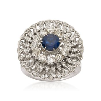 C. 1970 Vintage 1.25 Carat Sapphire and 1.80 ct. t.w. Diamond Ring in 18kt White Gold. Size 6.25, , default