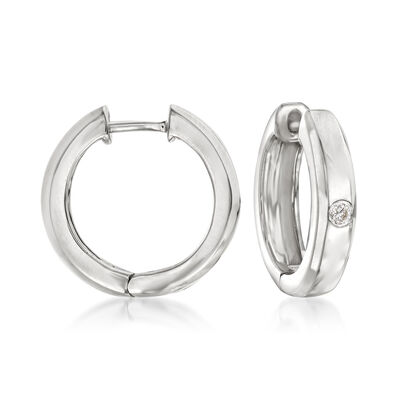 Sterling Silver Hoop Earrings with Diamond Accents
