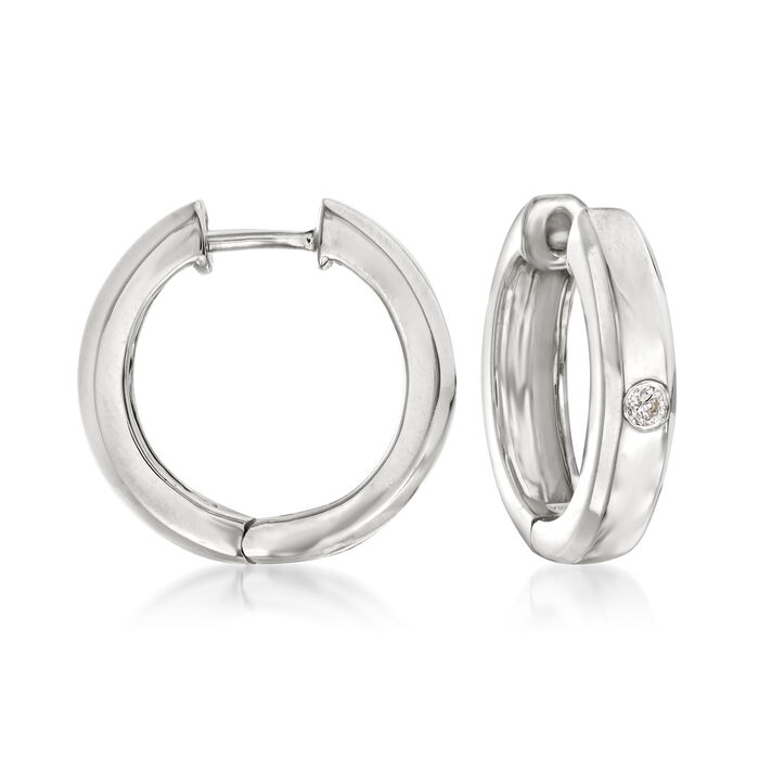 """Sterling Silver Hoop Earrings with Diamond Accents. 1/2"""""""