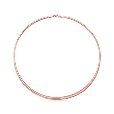 Italian Graduated Woven Mesh Necklace in 14kt Rose Gold, , default