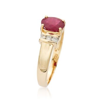 .85 Carat Ruby and .10 ct. t.w. Diamond Ring in 14kt Yellow Gold