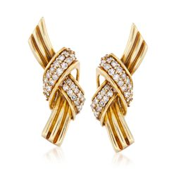 C. 1990 Vintage Jose Hess 1.50 ct. t.w. Diamond Knot Earrings in 18kt Yellow Gold, , default