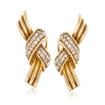 "C. 1990 Vintage Jose Hess 1.50 ct. t.w. Diamond Knot Earrings in 18kt Yellow Gold. 7/8"", , default"
