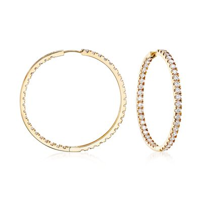 3.50 ct. t.w. CZ Inside-Outside Hoop Earrings in 14kt Yellow Gold, , default