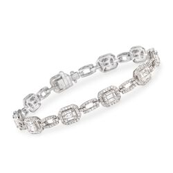 "Simon G. 3.30 ct. t.w. Diamond Link Bracelet in 18kt White Gold. 7"", , default"