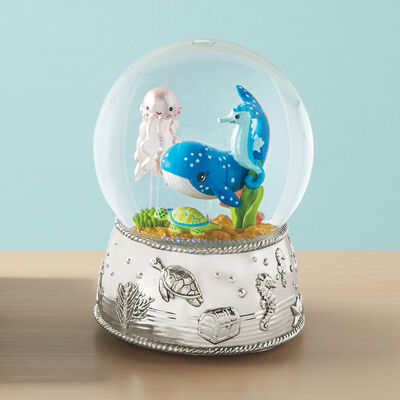 "Reed and Barton ""Mystic Sea"" Musical Whale Water Globe, , default"
