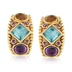 8.20 ct. t.w. Multi-Stone Drop Earrings in 14kt Yellow Gold, , default