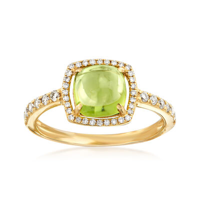 2.20 Carat Peridot and .28 ct. t.w. Diamond Ring in 14kt Yellow Gold, , default