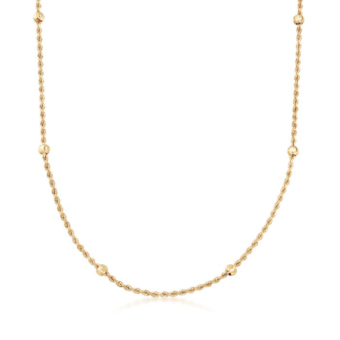 14kt Yellow Gold Rope Chain and Bead Station Necklace