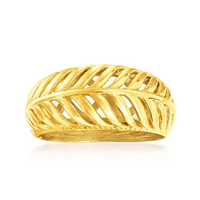 18kt Gold Over Sterling Palm Leaf Ring