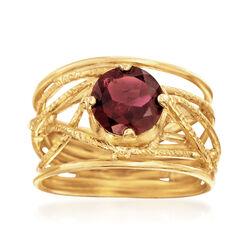 1.50 Carat Garnet Openwork Ring in 18kt Yellow Gold Over Sterling Silver, , default