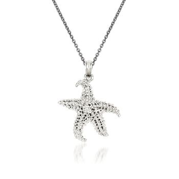 "14kt White Gold Starfish Pendant Necklace. 18"", , default"
