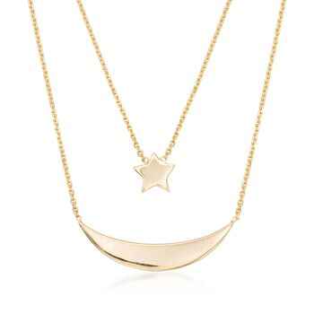 "14kt Yellow Gold Layered Star and Moon Necklace. 16"", , default"