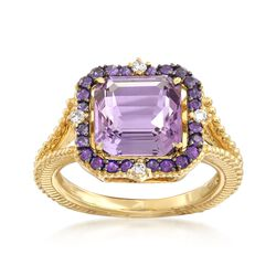 "Judith Ripka ""Lila"" 3.63 ct. t.w. Amethyst Ring With Diamond Accents in 18kt Yellow Gold, , default"
