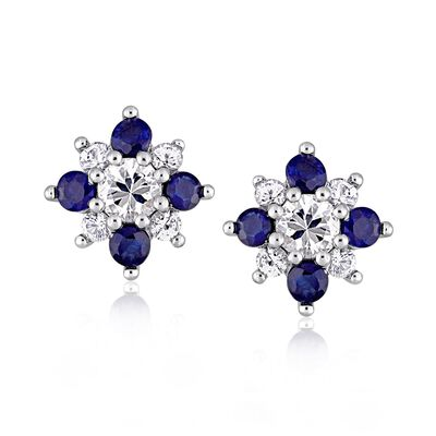 1.50 ct. t.w. White and Blue Sapphire Flower Earrings in 14kt White Gold, , default