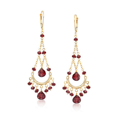 22.00 ct. t.w. Garnet Chandelier Earrings in 14kt Yellow Gold, , default