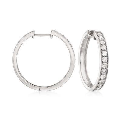 1.00 ct. t.w. Diamond Hoop Earrings in 14kt White Gold, , default