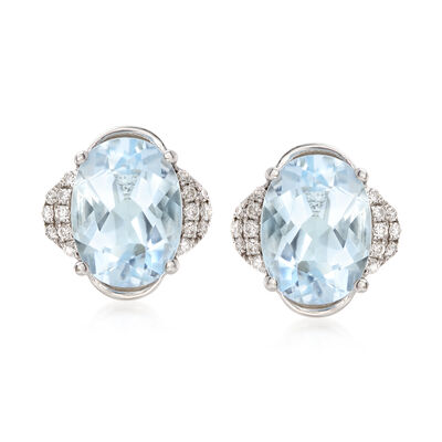 2.40 ct. t.w. Aquamarine and .10 ct t.w. Diamonds Stud Earrings in 14kt White Gold, , default