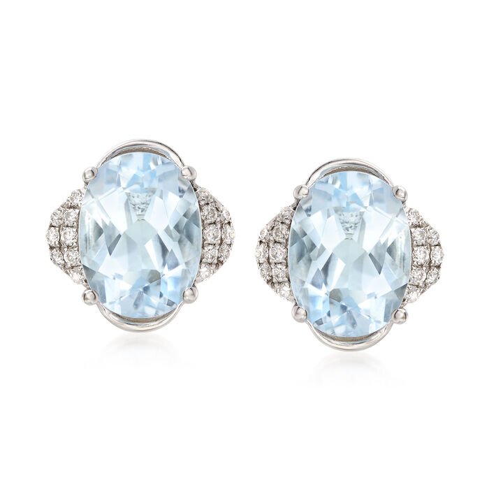 2.40 ct. t.w. Aquamarine and .10 ct t.w. Diamonds Stud Earrings in 14kt White Gold