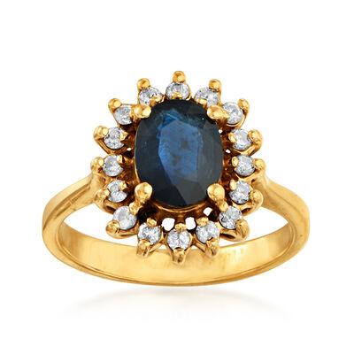 C. 1980 Vintage 1.25 Carat Sapphire and .35 ct. t.w. Diamond Ring in 14kt Yellow Gold