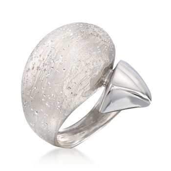 Italian Sterling Silver Multi-Finish Bypass Ring. Size 5, , default