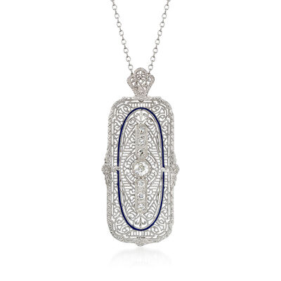 C. 1990 Vintage .50 ct. t.w. Diamond Pin Pendant Necklace in 14kt White Gold, , default