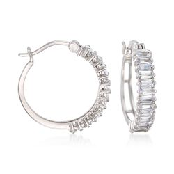 "2.20 ct. t.w. CZ Hoop Earrings in Sterling Silver. 3/4"", , default"