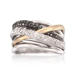 .50 ct. t.w. Black and White Diamond Highway Ring in Sterling Silver and 14kt Gold, , default