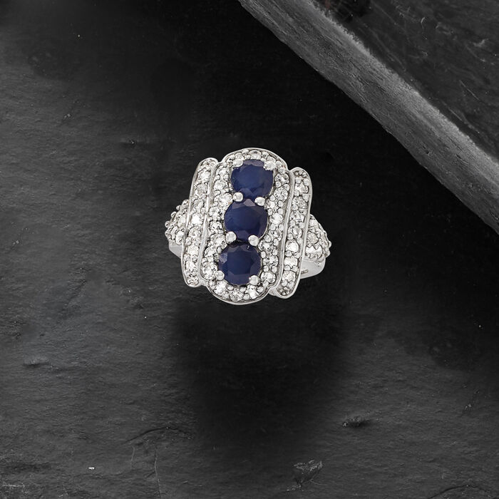 2.80 ct. t.w. Sapphire and 2.00 ct. t.w. White Topaz Ring in Sterling Silver
