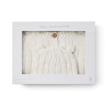 12 Months - Elegant Baby White Cotton Cable Knit Sweater and Hat Set, , default