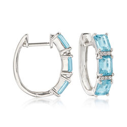 2.50 ct. t.w. Aquamarine Huggie Hoop Earrings With Diamond Accents in 14kt White Gold, , default