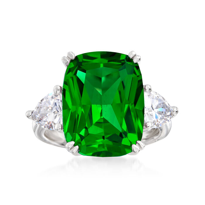 12.50 Carat Green CZ and 1.50 ct. t.w. CZ Ring in Sterling Silver, , default