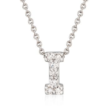 "Roberto Coin ""Tiny Treasures"" Diamond Accent Initial ""I"" Necklace in 18kt White Gold. 16"", , default"