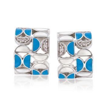 "Belle Etoile ""Demiluna"" Aqua and White Enamel and .15 ct. t.w. CZ Hoop Earrings in Sterling Silver. 1/2"", , default"
