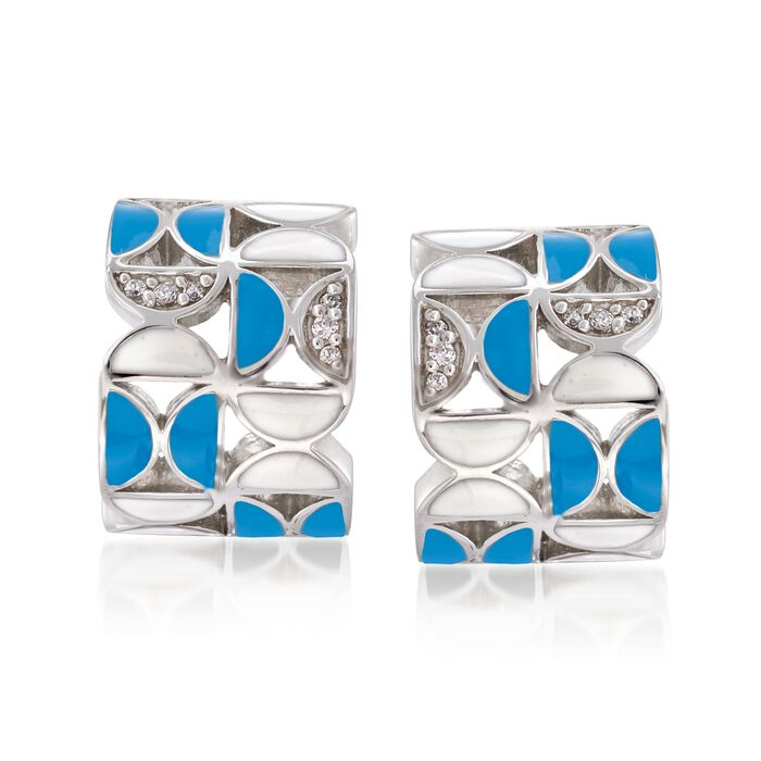 "Belle Etoile ""Demiluna"" Aqua and White Enamel and .15 ct. t.w. CZ Hoop Earrings in Sterling Silver. 1/2"", , default"