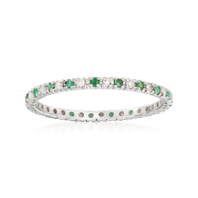 4f7484a5b t.w. Emerald and .15 ct. t.w. Diamond Eternity Band Ring .