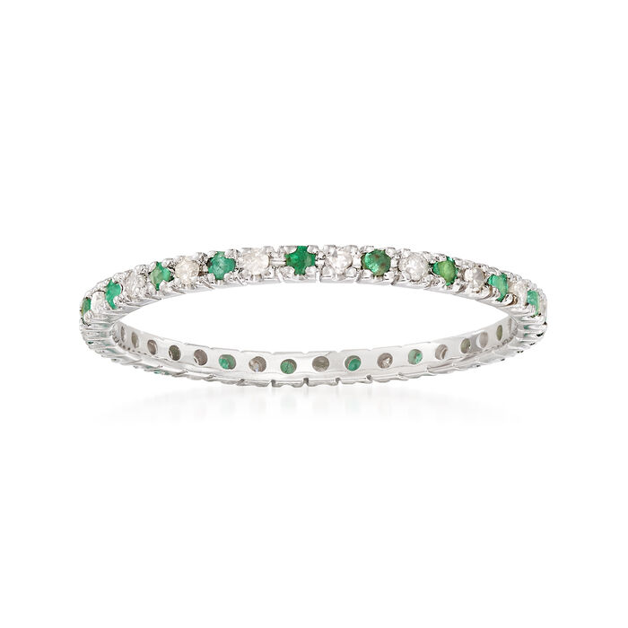 .20 ct. t.w. Emerald and .15 ct. t.w. Diamond Eternity Band Ring in 14kt White Gold, , default