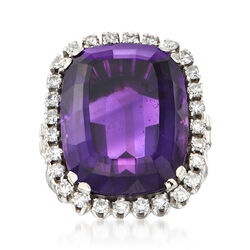 C. 1970 Vintage 13.90 Carat Amethyst and .65 ct. t.w. Diamond Ring in 18kt White Gold, , default
