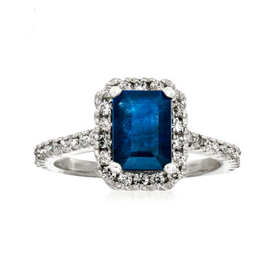1.60 Carat Sapphire and .45 ct. t.w. Diamond Halo Ring in 14kt White Gold