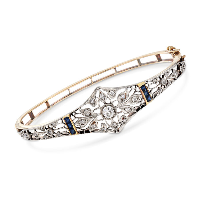 """C. 1940 Vintage .90 ct. t.w. Diamond and .60 ct. t.w. Sapphire Filigree Bracelet in 14kt Yellow Gold. 7.5"""", , default"""