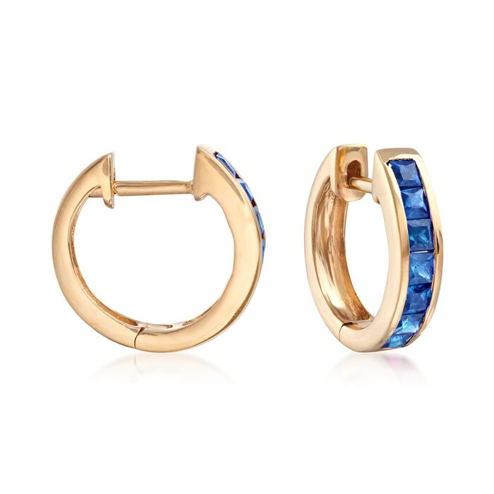 ".80 ct. t.w. Square-Cut Sapphire Huggie Hoop Earrings in 14kt Yellow Gold. 3/8"", , default"