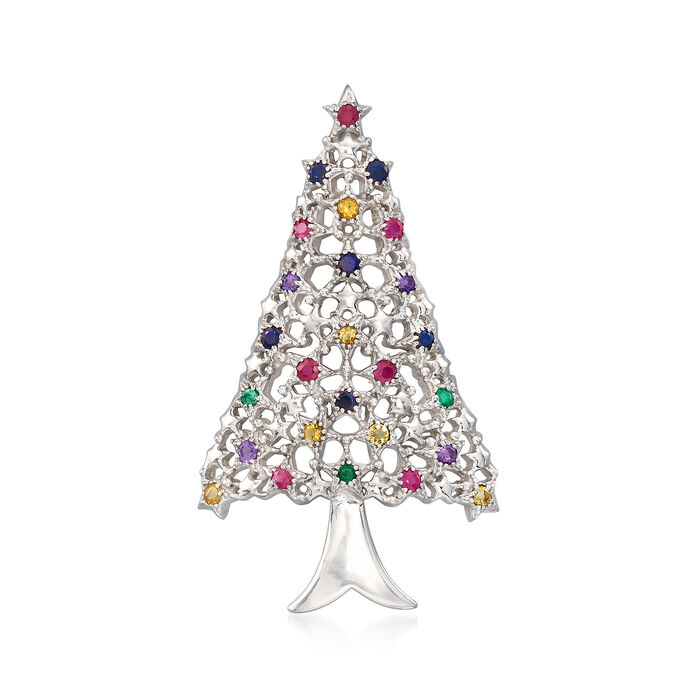 .80 ct. t.w. Multi-Stone Christmas Tree Pin in Sterling Silver