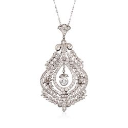 "C. 1960 Vintage 6.5 ct. t.w. Diamond Pendant Necklace in Platinum. 15"", , default"