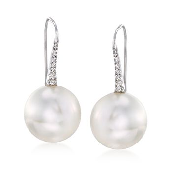 14-15mm Cultured South Sea Pearl and .15 ct. t.w. Diamond Earrings in 18kt White Gold, , default