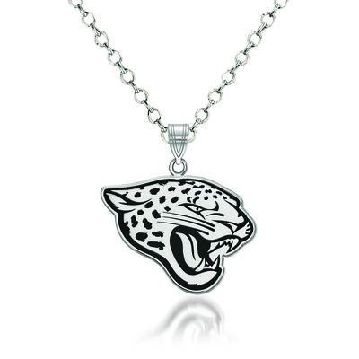 """Sterling Silver NFL Jacksonville Jaguars Enamel Pendant Necklace. 18"""""""